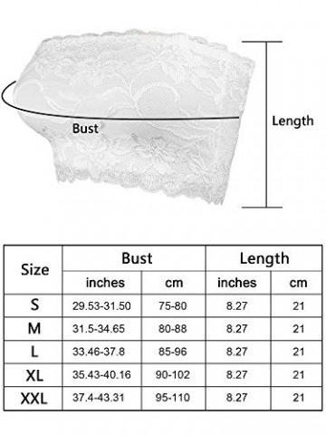 Hestya Damen Voller Blumen Spitze Tube BH Top Trägerlos Nahtlose Dehnbar Bandeau, Spitze Brust Wickeln (XL, Farbe Set 1) - 6