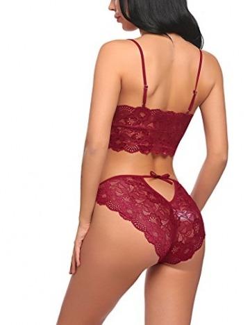 Meaneor_Fashion_Origin Erotik Dessous Set Reizvolle Strapsen Reizwäsche Corsage Lingerie Unterwäsche Push up BH + Panty Bustier für Damen (2-TLG.), XL, B Dunklerot - 6