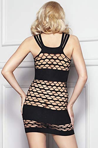 7-Heaven Damen Transparent Negligee Dessous Nacht Wäsche Babydoll Sleepwear schwarzes Netzkleid Betty Dessous - 2