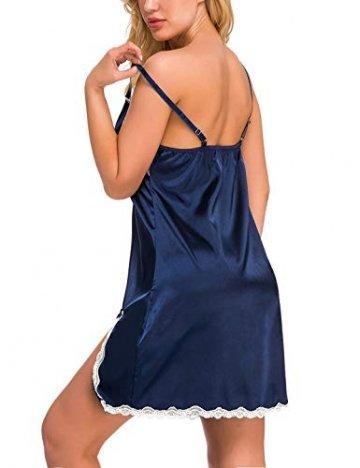 Abollria Damen Nachthemd Sexy Negligee Frau Sommer Nachtwäsche Satin Kleid Lingerie Klassische Bequem Nachtkleid V Ausschnitt Sleepwear Unterwäsche Kollektion - 5
