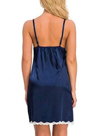 Abollria Damen Nachthemd Sexy Negligee Frau Sommer Nachtwäsche Satin Kleid Lingerie Klassische Bequem Nachtkleid V Ausschnitt Sleepwear Unterwäsche Kollektion - 6
