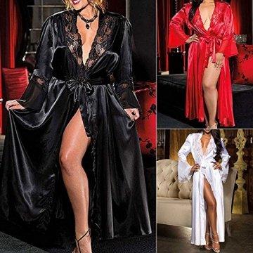 ABsoar Lingeries Damen Dessous Frauen Nachtwäsche Sexy Lange Seide Kimono Morgenmantel Babydoll Bath Robe Unterwäsche Set Unterwäsche Lingerie Frauen Spitzenkleid - 3