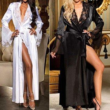 ABsoar Lingeries Damen Dessous Frauen Nachtwäsche Sexy Lange Seide Kimono Morgenmantel Babydoll Bath Robe Unterwäsche Set Unterwäsche Lingerie Frauen Spitzenkleid - 4