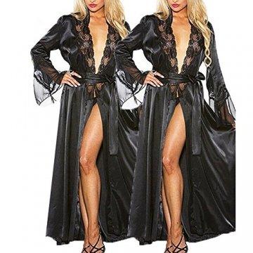 ABsoar Lingeries Damen Dessous Frauen Nachtwäsche Sexy Lange Seide Kimono Morgenmantel Babydoll Bath Robe Unterwäsche Set Unterwäsche Lingerie Frauen Spitzenkleid - 5