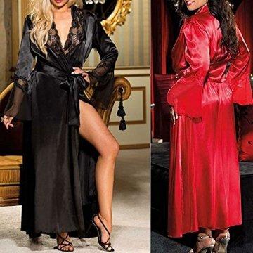 ABsoar Lingeries Damen Dessous Frauen Nachtwäsche Sexy Lange Seide Kimono Morgenmantel Babydoll Bath Robe Unterwäsche Set Unterwäsche Lingerie Frauen Spitzenkleid - 6