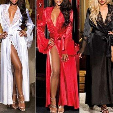 ABsoar Lingeries Damen Dessous Frauen Nachtwäsche Sexy Lange Seide Kimono Morgenmantel Babydoll Bath Robe Unterwäsche Set Unterwäsche Lingerie Frauen Spitzenkleid - 7