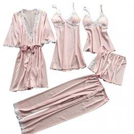 ABsoar Negligees Damen Sexy Dessous Silk Kimono Dressing Babydoll Spitze Dessous Gürtel Bademantel Nachtwäsche Unterwäsche Lace Bodysuit - 1