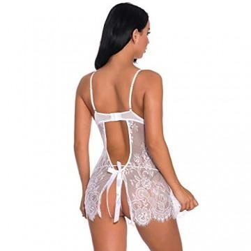 ABsoar Sexy Dessous Damen Babydoll Mesh UnterwäSche Kleid Durchsichtig Spitze Bodystocking SchöNe Lingerie Frauen Ineinander greifen Spitze V Ansatz Unterwäsche Sleepwear - 6