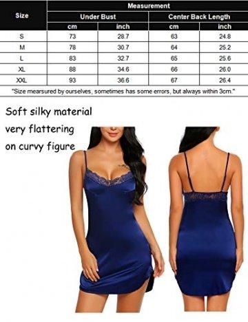 ADOME Damen Satin Nightgown reizvolle Wäsche schnürt Chemises Beleg Nachtwäsche Mittel Blau -