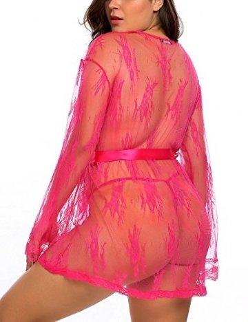 ADOME große größen Kimono Dessous Negligeé Morgenmantel mit Gürtel und G-String - 4