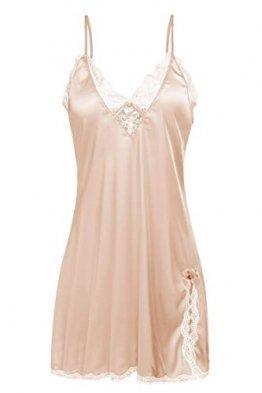 ADOME Nachthemd Stain Nachtwäsche Sexy Negligee Damen V-Ausschnitt Sommer Sleepwear Dessous Trägerkleid - 1