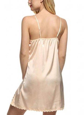 ADOME Nachthemd Stain Nachtwäsche Sexy Negligee Damen V-Ausschnitt Sommer Sleepwear Dessous Trägerkleid - 5