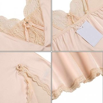ADOME Nachthemd Stain Nachtwäsche Sexy Negligee Damen V-Ausschnitt Sommer Sleepwear Dessous Trägerkleid - 6