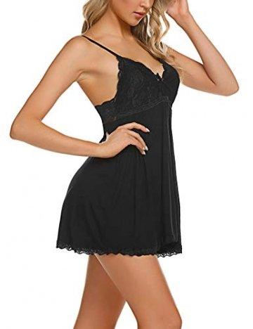 ADOME Negligee Sexy BH Babydoll Nachtwäsche Sleepwear Nachthemd für Damen Spitze Nachtkleid Dessous mit Spitzendetail - 4