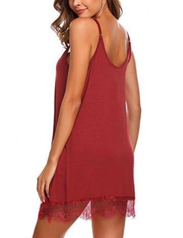 ADOME Sexy Dessous Nachthemd Spitze Patchwork Damen Chemise V-Ausschnitt Spitzen-Getrimmt Negligee Kleid Lingerie Unterkleid Minikleid Elastisch Pyjamas mit G-String (X-Large, Vermilion) - 2