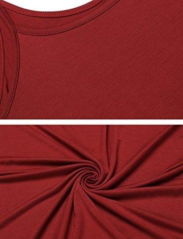 ADOME Sexy Dessous Nachthemd Spitze Patchwork Damen Chemise V-Ausschnitt Spitzen-Getrimmt Negligee Kleid Lingerie Unterkleid Minikleid Elastisch Pyjamas mit G-String (X-Large, Vermilion) - 5