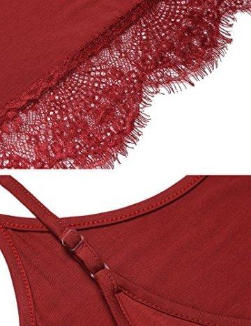 ADOME Sexy Dessous Nachthemd Spitze Patchwork Damen Chemise V-Ausschnitt Spitzen-Getrimmt Negligee Kleid Lingerie Unterkleid Minikleid Elastisch Pyjamas mit G-String (X-Large, Vermilion) - 6