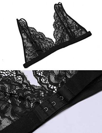 ADOME Sexy Dessous Set BH Dessous Sexy Erotische Lingerie Höhe Taille Reizwäsche Nachtwäsche Unterwäscshe Lace Spitze Unterwäsche BH und Slip Reizwäsche Set - 7