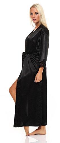 AE Damen langes Kimono Nachtmantel Seidenrobe Morgenmantel Nachtwäsche Dessous Satin Nightwear Reizwäsche mit Spitze Gr. S-XXL Schwarz XL - 2