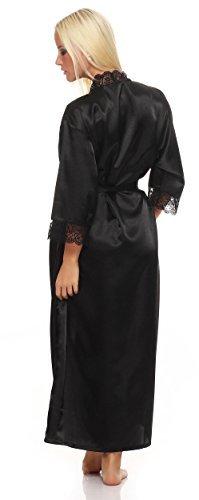 AE Damen langes Kimono Nachtmantel Seidenrobe Morgenmantel Nachtwäsche Dessous Satin Nightwear Reizwäsche mit Spitze Gr. S-XXL Schwarz XL - 3