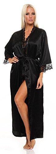 AE Damen langes Kimono Nachtmantel Seidenrobe Morgenmantel Nachtwäsche Dessous Satin Nightwear Reizwäsche mit Spitze Gr. S-XXL Schwarz XL - 1