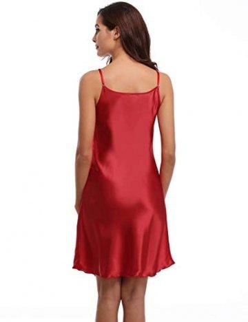Aiboria Damen Nachthemd Frau Sommer Sexy Negligee Satin Spinnen Seide Nachtkleid Kurz Langen Rock Schlanke Nachtwäsche Sleepwear Frauen V-Ausschnitt - 6