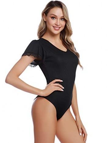 Aibrou Damen Kurzarm Body T-Shirt Elastisch Damenbody Stringbody Overall Bodysuit Top mit Tiefem Rundhals Ausschnitt - 5