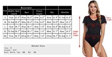 Aibrou Damen Kurzarm Body T-Shirt Elastisch Damenbody Stringbody Overall Bodysuit Top mit Tiefem Rundhals Ausschnitt - 7