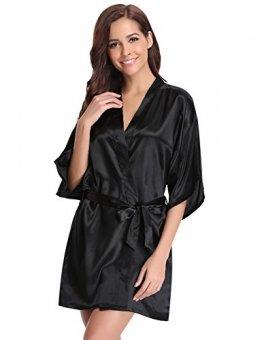 Aibrou Damen Satin Kimono Nachthemd Nachtwäsche Langer Morgenmantel Bademantel Schlafanzug Unterwäsche mit Gürtel Schwarz XXL - 1