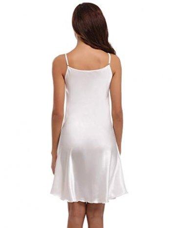 Aibrou Damen Sexy Negligee Nachthemd Satin Nachtkleid Nachtwäsche Unterwäsche Sleepwear Kurz Trägerkleid V Ausschnitt Weiß L -