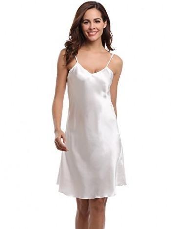 Aibrou Damen Sexy Negligee Nachthemd Satin Nachtkleid Nachtwäsche Unterwäsche Sleepwear Kurz Trägerkleid V Ausschnitt Weiß L - 1
