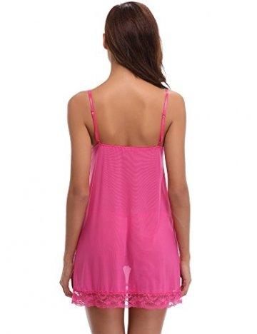 Aibrou Damen Sexy Reizwäsche Babydoll Dessous Chemise Nachthemd Lingerie Negligee Nachtwäsche Kimono Zwei Stücke Sleepwear mit G String (XL, Rosa) -