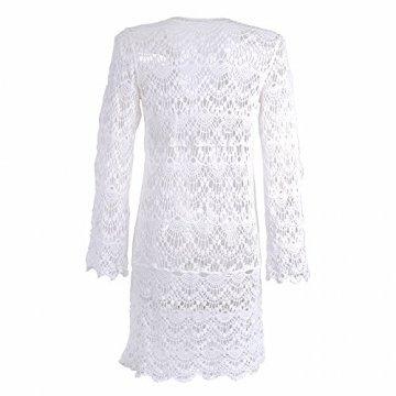 ASSKDAN Damen Boho Weben Einzigartig Bikini Cover Up Sommerkleid Strandkleid Lang - One Size (One Size, Weiß) - 3