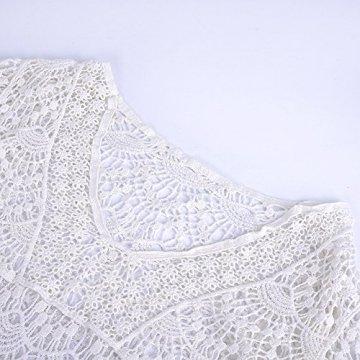 ASSKDAN Damen Boho Weben Einzigartig Bikini Cover Up Sommerkleid Strandkleid Lang - One Size (One Size, Weiß) - 4