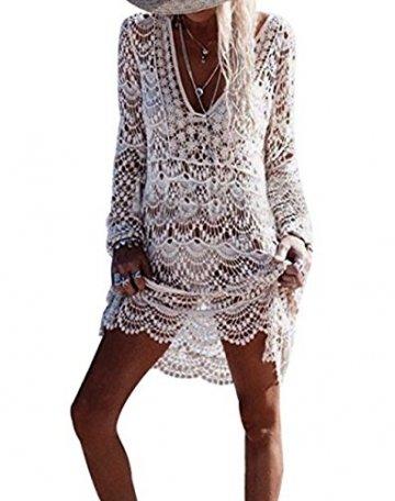 ASSKDAN Damen Boho Weben Einzigartig Bikini Cover Up Sommerkleid Strandkleid Lang - One Size (One Size, Weiß) - 1