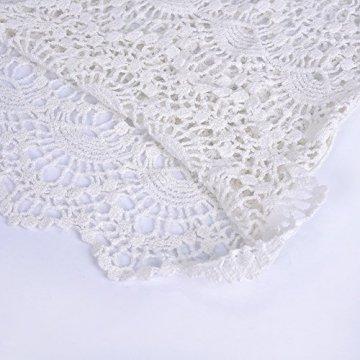 ASSKDAN Damen Boho Weben Einzigartig Bikini Cover Up Sommerkleid Strandkleid Lang - One Size (One Size, Weiß) - 5