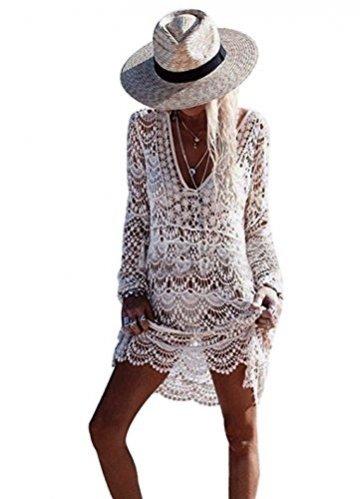 ASSKDAN Damen Boho Weben Einzigartig Bikini Cover Up Sommerkleid Strandkleid Lang - One Size (One Size, Weiß) - 6