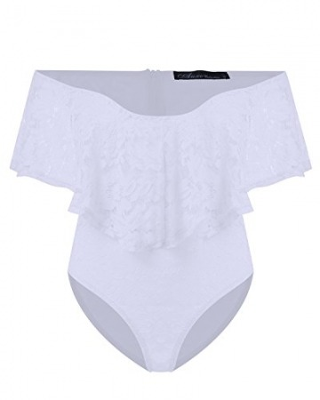 Auxo Damen Schulterfrei Jumpsuit Spitze Bodysuit Rüschen Overall Stretch Top Rückenfrei Oberteil Weiß EU 44/Etikettgröße 2XL - 4