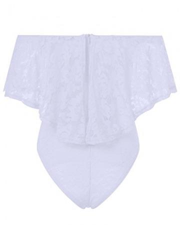 Auxo Damen Schulterfrei Jumpsuit Spitze Bodysuit Rüschen Overall Stretch Top Rückenfrei Oberteil Weiß EU 44/Etikettgröße 2XL - 5