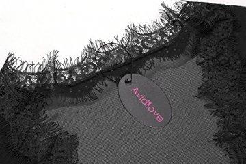 Avidlove Damen Gaze Kimono Spitze Kurz Morgenmantel mit G-String Nachtmantel Reizwäsche Negligee Nachtwäsche Dessous - 4