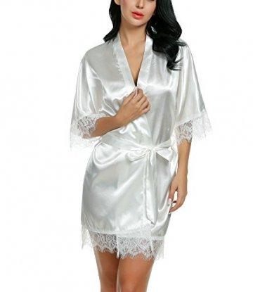 Avidlove Damen Morgenmantel Kimono mit Taschen Bademantel Satin Kurz Robe Nachthemd Nachtwäsche Mit Blumenspitze Dessous Unterwäsche - 2