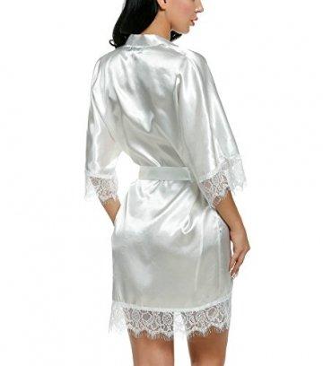 Avidlove Damen Morgenmantel Kimono mit Taschen Bademantel Satin Kurz Robe Nachthemd Nachtwäsche Mit Blumenspitze Dessous Unterwäsche - 4