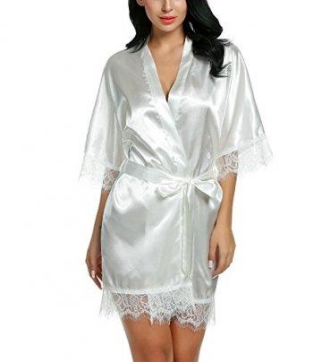 Avidlove Damen Morgenmantel Kimono mit Taschen Bademantel Satin Kurz Robe Nachthemd Nachtwäsche Mit Blumenspitze Dessous Unterwäsche - 1