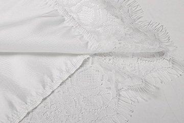 Avidlove Damen Morgenmantel Kimono mit Taschen Bademantel Satin Kurz Robe Nachthemd Nachtwäsche Mit Blumenspitze Dessous Unterwäsche - 6