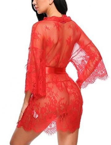 Avidlove Dreiteilig Nachtwäsche Negligee Kleid Gown Kurz Babydoll Erotik Lingerie mit G-String Gürtel Nachthemd Transparente Dessous Damen Sexy Robe Long Sleeve Sheer Mesh Lace-Trim L Rot - 5