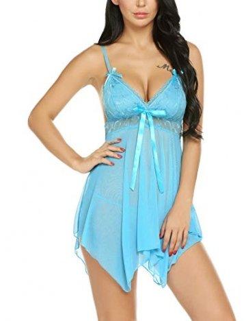 Avidlove Negligee Dessous Babydoll Reizwäsche Unregelmäßiger Hem Damen Nachtwäsche Erotik Spitze Lingerie Rock Transparent + G-string- Gr. Medium, Blau - 5
