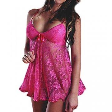 Baby Dolls & Negligees für Damen/Dorical Frauen Sexy Nachtwäsche Spitze Negligee V-Ausschnitt Babydoll Lingerie Öffnen Zurück Nachtwäsche Kleid Dessous mit G-string S-4XL Rabatt(Hotpink,Large) - 1