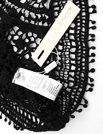 BaiShengGT Damen Boho Rückenfrei Spitze Bikini Cover Up Strandkleid Sommerkleid Schwarz One Size passt S-M - 3