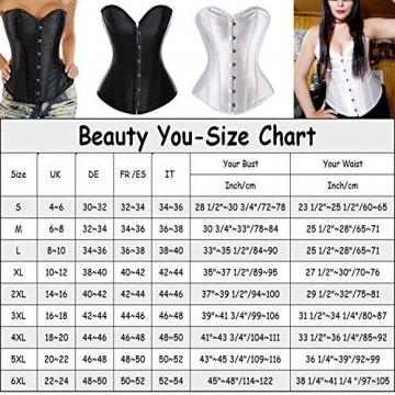 Beauty-You Damen Vintage Gothic Corsage Satin Korsett Vollbrust Clubwear Waist Cincher Schwarz L - 6