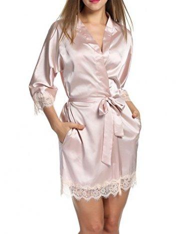 BeautyUU Damen Morgenmantel Kimono Bademantel Satin Nachthemd Nachtwäsche Schlafanzüge Mit Blumenspitze, Champagner, M - 2